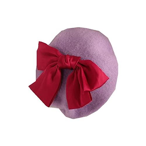 JINSHAO Princesa Kids Girls Caps Berets Encantador Perla Goreros Sombreros Primavera Otoño Invierno Niñas Niñas Sombreros (Color : Purple Bow, Size : 2-6Years)