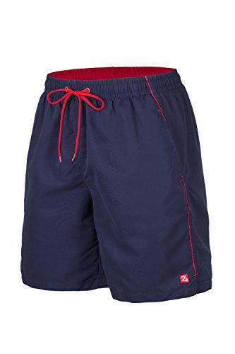 Zagano Badehose, Herren Badeshorts, Boardshorts für Männer mit Kordelzug, Badehose, Sporthose, Shorts S-6XL, Dunkelblau hergestellt in der EU