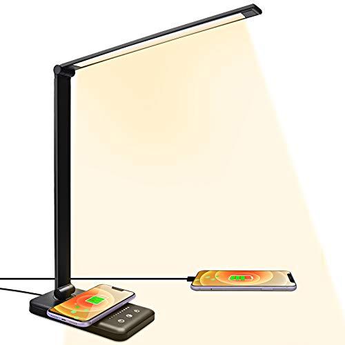 Schreibtischlampe LED mit Induktiv Wireless Charger ACADGQ, USB Tischlampe 5 Farbe 5 Helligkeitsstufen Dimmbar, 30/60min Auto Timer, Eye-Caring Bürolampe(Schwarz)