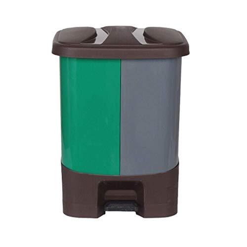 LZZB Mülleimer Kombi-Set Abfall-Papierkorb klassifiziert Outdoor-Mülleimer Blume Garten Kunststoff-Abfallbehälter Große Kapazität 20L Papierkorb (Farbe: Grün)