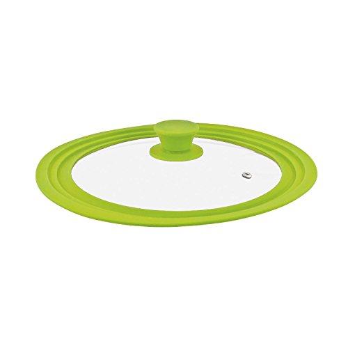 bremermann® Coperchio Universale in Vetro con Bordo in Silicone, 24/26/28 cm, Medio (Nero)