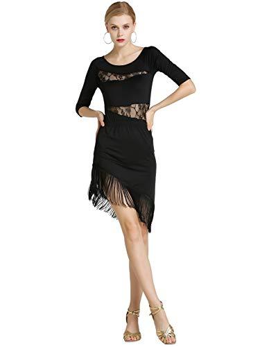 Kaiyei Sexy Ungleiche Frauen Mädchen Spitze Quaste Latin Rock Damen Fransen Latin Tango Ballroom Salsa Leistung Tanzkleid Schwarz M