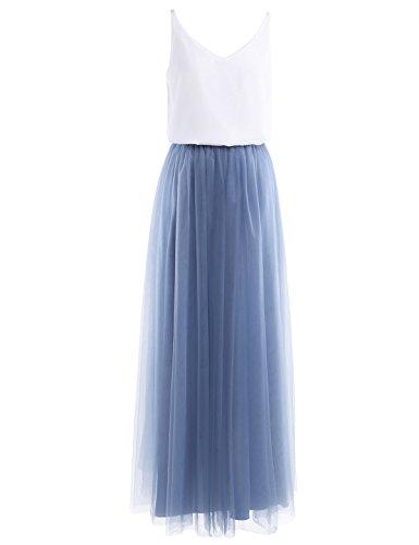 iiniim Damen Kleid Festlich Cocktailkleid Abendkleid Maxikleid Brautjungfer Hochzeit Kleid Tank Top mit langes Mesh Rock Gr.34-46 Blau-grau 34