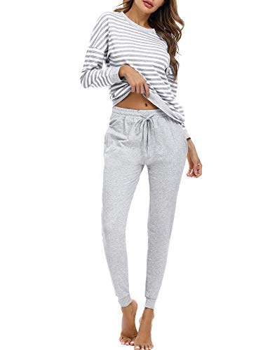 Doaraha Pijamas Algodón para Mujer Estampado de Rayas Ropa de Dormir Camiseta Manga Larga con Pantalones Larga Puño Elástico Conjunto de Pijamas Suave y Transpirable (Gris, S)