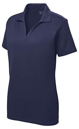Women's Dri-Equip Short Sleeve Racer Mesh Polo Shirt-L-Navy