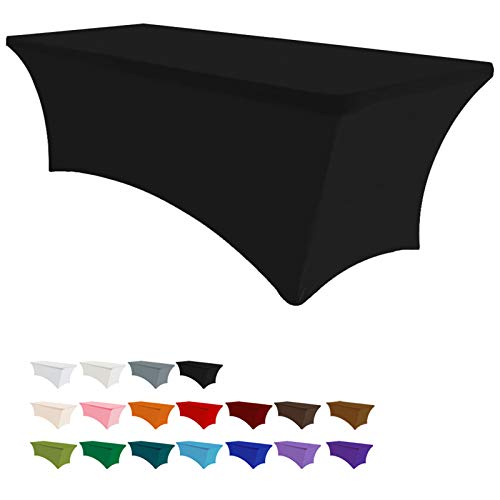 Eurmax 6Ft Rectangular Fitted Spandex Tablecloths Wedding Party Patio Table Covers Event Stretchable Tablecloth (Black)