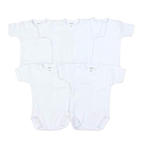 TupTam Unisex Baby Kurzarm Wickelbody Baumwolle 5er Pack, Farbe: Weiß, Größe: 62
