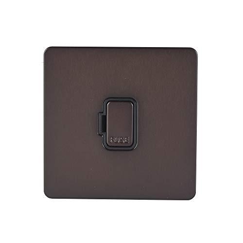 Schneider Electric Ultimate Placa plana sin tornillos – Unidad de conexión sin interrupción, doble polo, 13A, GGBGU5400BDBP, bronce oscuro con inserción negra