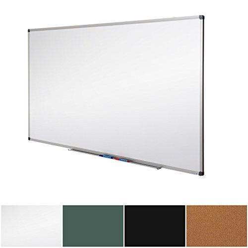 pratica lavagna magnetica bianca con cornice nera in alluminio Lockways per scuola casa e ufficio 80 x 110 cm