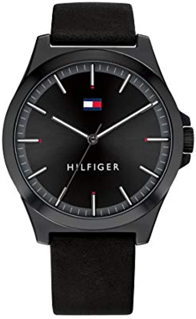 Tommy Hilfiger Men's Stainless Steel Quartz Watch with Leather Strap, Black