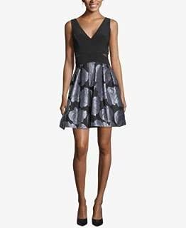 XSCAPE Womens Black Printed Sleeveless V Neck Mini Fit + Flare Party Dress US Size: 4