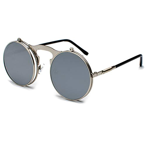 Yuandongxing Retro Steampunk Circle Vintage Round Flip Up Sunglasses Mujeres Hombres Estilo Punk Sunglass Metal Frame UV400