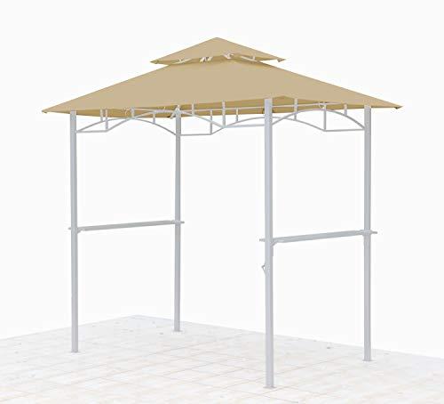 GRASEKAMP Qualität seit 1972 Ersatzdach für BBQ Grill Pavillon 1,5x2,4m Sand Unterstand Doppeldach Gazebo