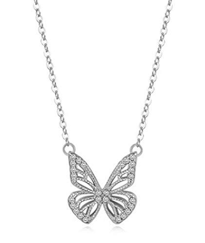 XIRENZHANG Collar de mariposa de diseño sencillo para colgar en el clavo, para regalar a madres, esposas o novias, platino