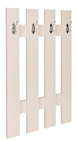 ts-ideen Garderobe wandgarderobe hal paneel haak rail hout esdoorn licht 4 haken 100 x 70 cm