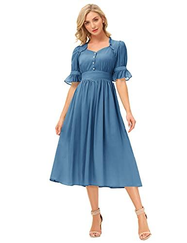 SCARLET DARKNESS Abito da donna in cotone Renaissance, a maniche corte, con scollo a V, in tinta unita, grigio/blu, S