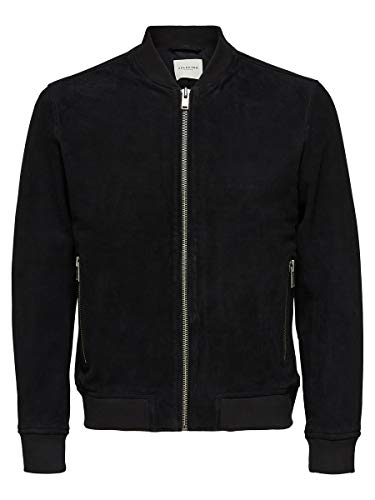 SELECTED HOMME Male Lederjacke Wildleder XLBlack