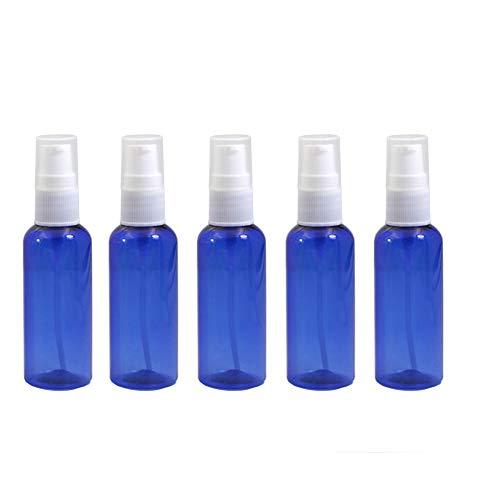 12PCS 50ML 1.7OZ vide bouteille de presse en plastique bleu avec couvercle et tête de pompe portable BB crème Fondation Essence sérum pot pot support de flacon contenant des cosmétiques
