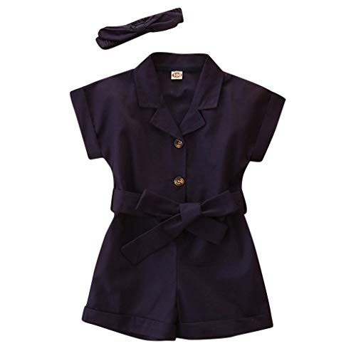 Toddler Kids Baby Girls Solid Color Bowknot Romper Wide Leg Shorts Jumpsuit Overalls with Headbands Outfits for 2-7 Yrs Navy