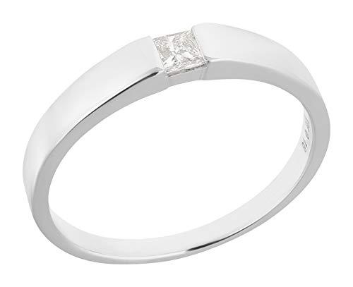 Ardeo Aurum Damenring aus 375 Gold Weißgold mit 0,18 ct Diamant Princess-Schliff Spannfassung Solitär Verlobungsring