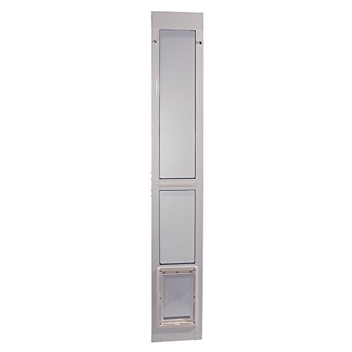 """Ideal Pet Modular ALUMINUM Pet Patio Door with Single Pane Glass and Clear Flexible Flap. Fits up to 1"""" Aluminum Patio track width ONLY, Medium, White"""