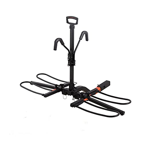 Hyperax RV Approved Hitch Mounted E Bike Rack Carrier for RV, Camper, Trailer with 2 inch Class 3 or Higher Tow Hitch Receivers - Fits Up to 2 x 70lbs Mountain Bike E Bikes with Up To 5-inch Fat Tires
