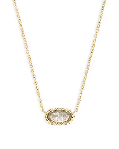 Kendra Scott Elisa Short Pendant Necklace for Women, Dainty Fashion Jewelry, 14K Gold-Plated, Crystal Clear Glass