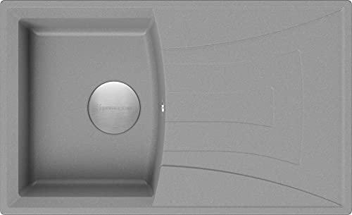 Spülbecken Grau 77 x 47 cm, Granitspüle + Siphon Premium, Küchenspüle ab 45er Unterschrank, Einbauspüle von Primagran