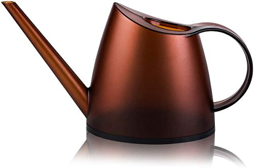 Watering Can for Indoor Plants,1/3 Gallon Long Spout Watering Kettle, Watering Pot for Indoor & Outdoor Succulents, Hanging Plants, and Potted Flowers, 47 oz/1.4L (Frosted Amber)