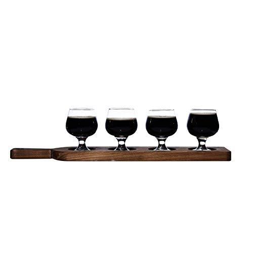 Bicchieri Raffinato Bicchiere Di Birra Set Creativo Di Vetro Piccolo Bicchiere Di Vino Taste Cup Tazza Di Birra Tedesca, Vassoio Di Legno4 Tazze Di Birra Con Le Gambe Corte