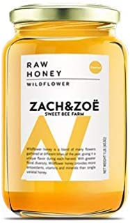 Unfiltered Raw Honey by Zach & Zoe Sweet Bee Farm – Pure Farm Raised Honey Packed with Powerful Anti-oxidants, Amino Acids...