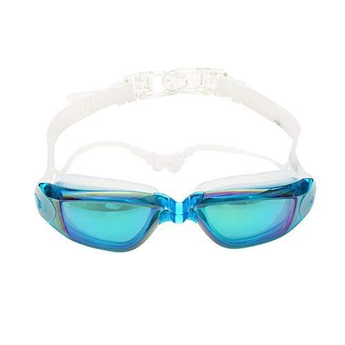 NLG Optische Schwimmbrille Männer und Frauen Myopie Ohrstöpsel wasserdichte Schwimmbrille Adult Diving BrilleSky Blue