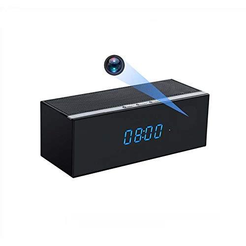 Slkon Altavoz Bluetooth Reloj Camera Espia WiFi accesible a distancia mediante aplicación Full HD Detección de Movimiento y Visión Nocturna