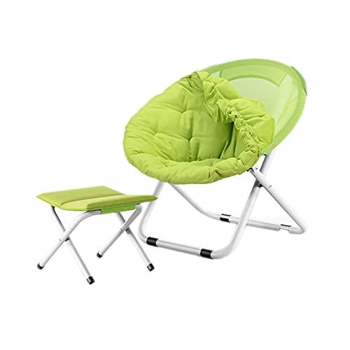 FLZXSQC Klappstuhl mit runder Rückenlehne, für drinnen und draußen, Angelstuhl, Familien-Abendessen, zusammenklappbar, tragbar, Grün