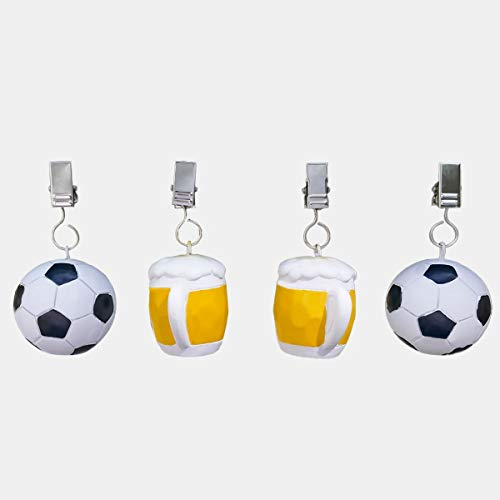 SHACAMO 4er Tischdeckenbeschwerer Fussball und Bier