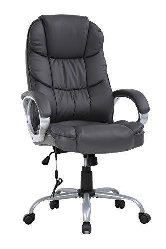 LCH Office Chair High Back Ergonomic Desk Chairs, PU Leather Executive Swivel Task Chair Home Computer Chair with USB Massages with Padded Armrests & Lumbar Support - Black