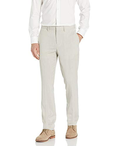 Perry Ellis Men's Slim Fit Stretch Suit Pant, Natural Linen, 34W x 30L Connecticut