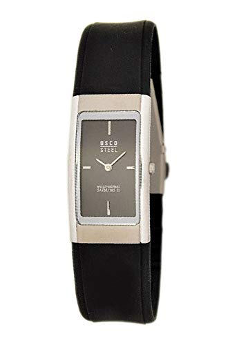 OSCO Steel Damen-Armbanduhr mit Kautschuk-Armband 3045 (schwarz)