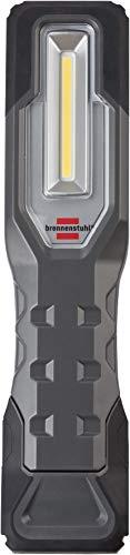 Brennenstuhl Linterna de trabajo portátil HL 1000 A con batería recargable (1000 + 200 lm, lámpara LED COB de trabajo e inspección, luz regulable, base magnética, IP54)
