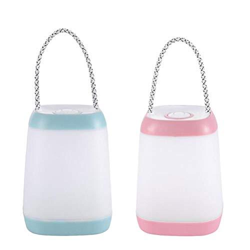 Uonlytech Luce da Campeggio Portatile per Lanterna da Tenda per Escursioni in Campeggio Pesca Demergenza Luce di Emergenza (Rosa E Azzurro)