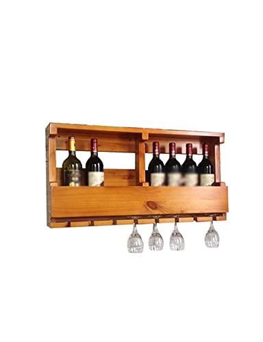 Muebles para el hogar Estante de almacenamiento para cocina Estante para vino montado en la pared y soporte para vidrio Vintage Madera maciza Almacenamiento de pino Hogar Cocina Bar Decoración Acce