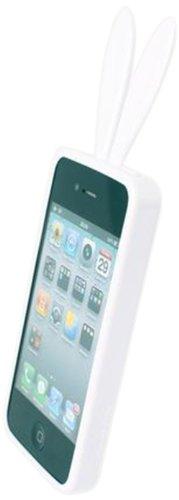 Rabito RB4000S Bling Bling Custodia Cover Case Accessorio con orecchi e coda per Cellulare Smartphone Apple iPhone 4/4S, Bianco