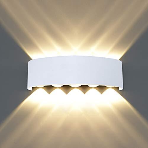 HAWEE Moderno Applique da Parete LED Lampada da Parete Impermeabile Alluminio Lampada da Muro Interno Esterno per Camera da Letto, Bagno, Portico, Corridoio, Scale, Soggiorno, 10W Bianco Caldo