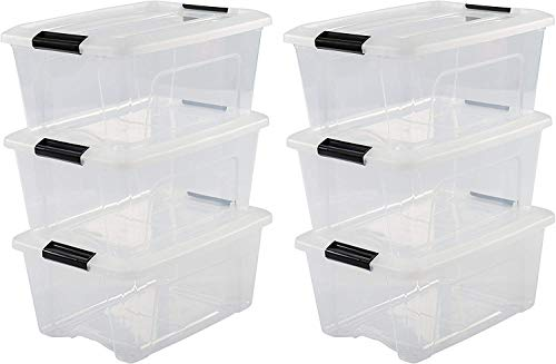 Iris Ohyama, lot de 6 boîtes de rangement empilables - New Top Box NTB-15 - Plastique, transparent, 15 L, 39,5 x 29 x 18,6 cm