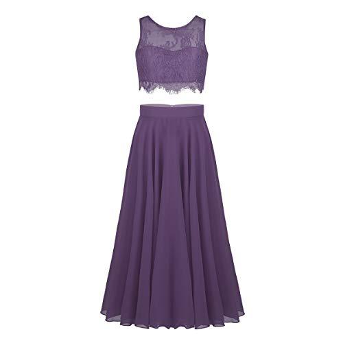 YiZYiF 2-Piece Kids Big Girls Lace Floral Wedding Prom Dance Formal Party Maxi Gown Chiffon Dress Purple Gray 10