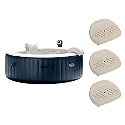 """Intex PureSpa 75"""" Portable Jet Spa 6 Person Inflatable Hot Tub w/ Seat (3 Pack)"""
