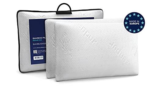 ZenPur 2er Set Memory Schaum Schlaf Kissen Orthopädisches Kissen 60x40 cm - 100% Visco Kissen, Bio Bambus, weich Ergonomisches Kissen für Nackenschmerzen, Öko-Tex 100, Hypoallergen - Memory Foam Kissen
