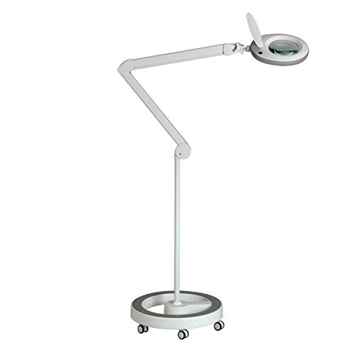 Lumeno LED Lupenleuchte Lupenlampe Arbeitsplatzlampe Kosmetiklampe für Kosmetik Praxen Bastler Lesehilfe Vergrößerungslampe Lupe in 3, 5 oder 8 Dioptrien Grau 5 mit Rollstativ