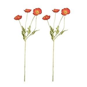 YARDWE 2pcs Artificial Silk Flower Simulation 4- Poppies Flower Bunches Vivid Decorative Rose Flower Arrangement Bouquet for Wedding Home Garden Decor (Ivory)
