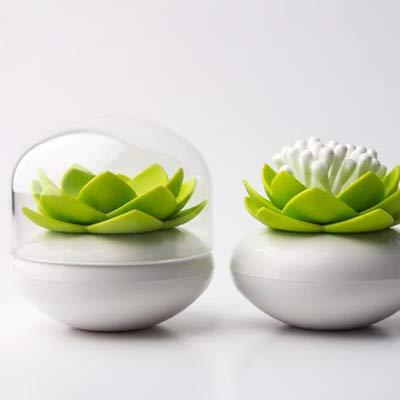 Gespout Stuzzicadenti Scatole Lovely Lotus Shape Contenitori per Batuffolo di Cotone Dischetti Desktop Decorazione Batuffolo di Cotone (Verde)